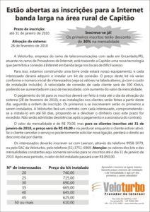 Flyer informativo sobre início das operações em Capitão